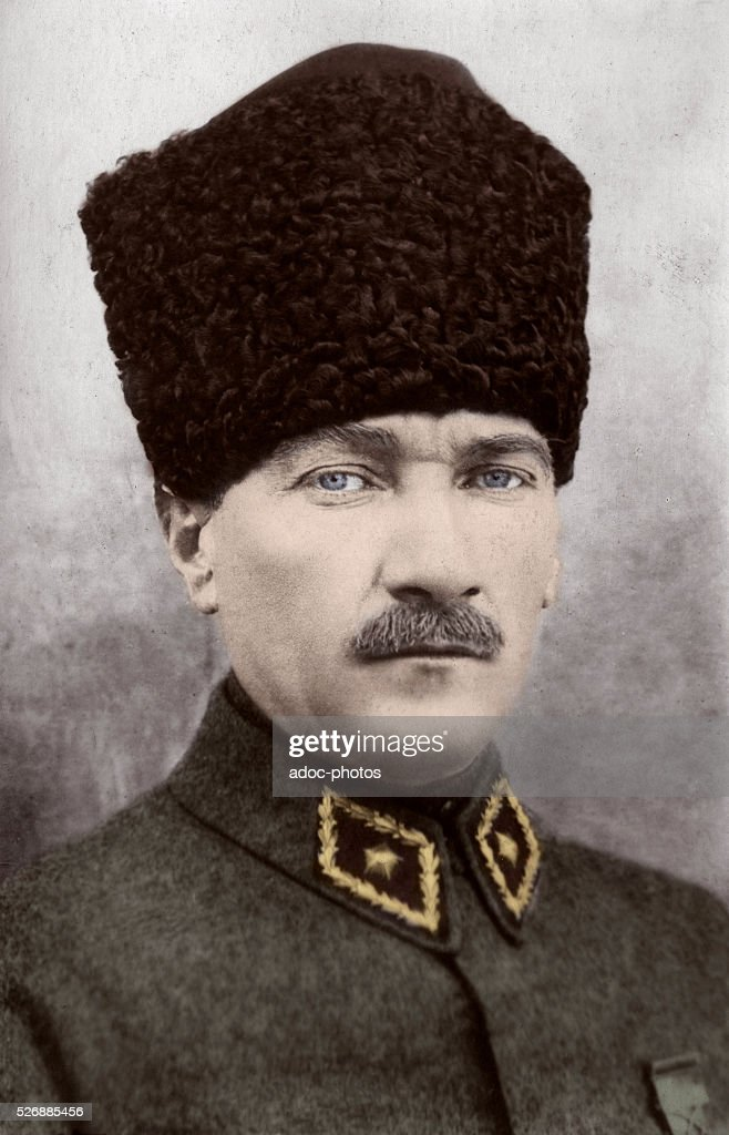 Mustafa Kemal Atat��rk (1881-1938), founder of the Republic of Turkey and its first President. Ca. 1925. Coloured photograph.