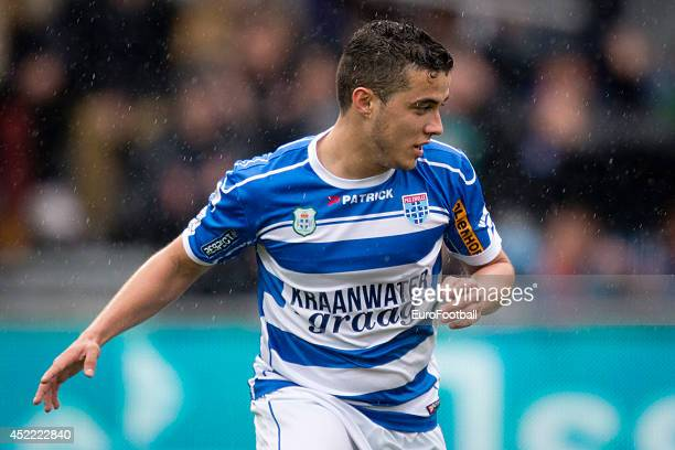 Mustafa Saymak of PEC Zwolle in action during the Eredivisie Dutch League match between PEC Zwolle and PSV Eindhoven at the IJsseldelta Stadion on...