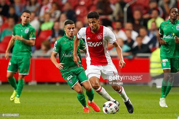Mustafa Saymak of PEC Zwolle Jairo Riedewald of Ajax during the Dutch Eredivisie match between Ajax Amsterdam and PEC Zwolle at the Amsterdam Arena...