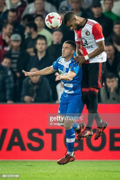 Mustafa Saymak of PEC Zwolle Jeremiah St Juste of Feyenoord during the Dutch Eredivisie match between Feyenoord Rotterdam and PEC Zwolle at the Kuip...