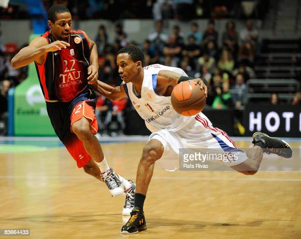 Mustafa Shakur #22 of TAU Ceramica and Brandon Jennings #11 of Lottomatica Roma in action during the Euroleague Basketball Game 4 match between Tau...