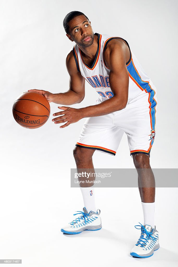 Mustafa Shakur #22 of the Oklahoma City Thunder poses for portrait photos on March 23, 2014 at Chesapeake Energy Arena in Oklahoma City, Oklahoma.