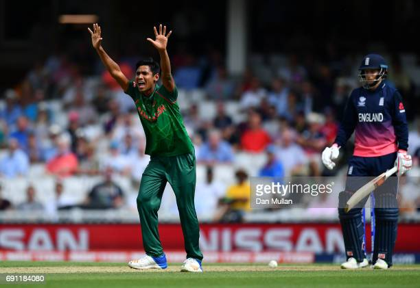 Mustafizur Rahman of Bangladesh appeals unsuccessfully for the wicket of Joe Root of England during the ICC Champions Trophy Group A match between...