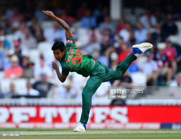 Mustafizur Rahman of Bangladesh bowls during the ICC Champions Trophy Group A match between England and Bangladesh at The Kia Oval on June 1 2017 in...