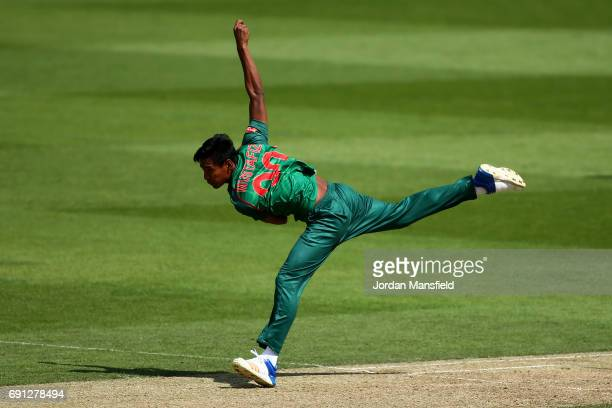 Mustafizur Rahman of Bangladesh bowls during the ICC Champions Trophy match between England and Bangladesh at The Kia Oval on June 1 2017 in London...