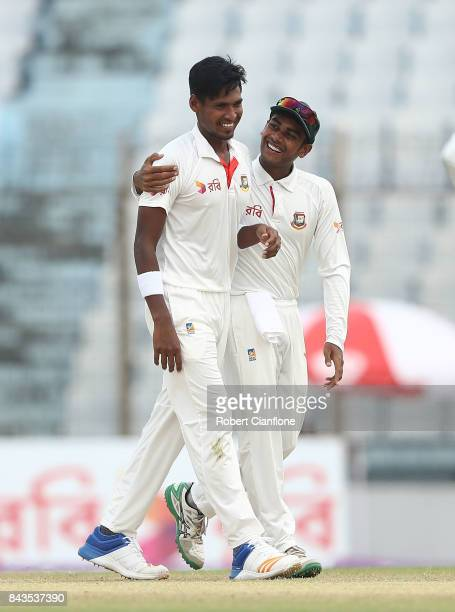 Mustafizur Rahman of Bangladesh celebrates after taking the wicket of Nathan Lyon of Australia during day four of the Second Test match between...