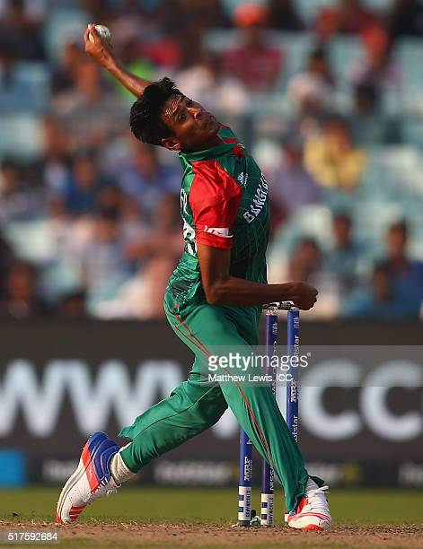 Mustafizur Rahman of Bangladesh in action during the ICC World Twenty20 India 2016 match between Bangladesh and New Zealand at Eden Gardens on March...
