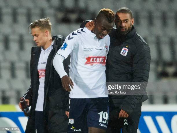 Mustapha Bundu of AGF Aarhus and David Nielsen head coach of AGF Aarhus celebrate after scoring their third goal during the Danish Alka Superliga...