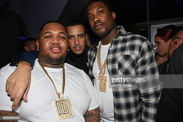 DJ Mustard French Montana and Meek Mill attend Meek Mill Official Grammy Party on February 8 2015 in Beverly Hills California