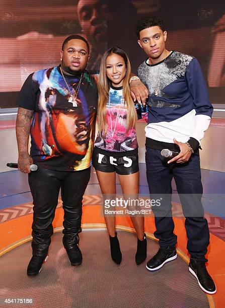 DJ Mustard Karrueche Tran Brandon Broady attend 106 Park at BET studio August 25 2014 in New York City