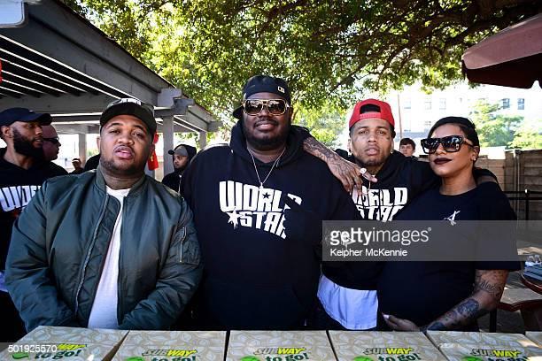 DJ Mustard Lee 'Q' O'Denat Kid Ink and Asiah Azante attend WorldStarHipHop's 3rd Annual Skid Row Xmas on December 18 2015 in Los Angeles California