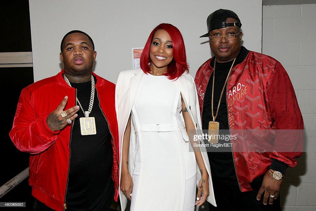 DJ Mustard Monica and E40 attend the BET Hip Hop Awards Show 2015 at the Atlanta Civic Center on October 9 2015 in Atlanta Georgia
