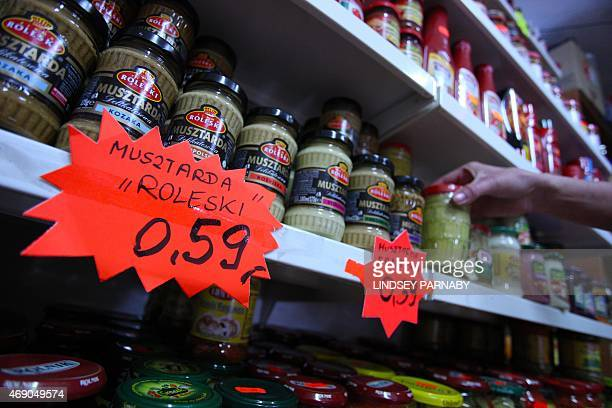 Mustard on sale in an eastern European food shop in the market town of Boston in Lincolnshire on March 5 2015 For centuries the town of Boston in...