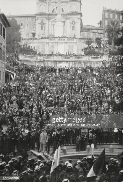Muster in the Piazza of Spain during the patriotic demontration in favour of Italy's war entry Rome Italy World War I photo by Menasei from...