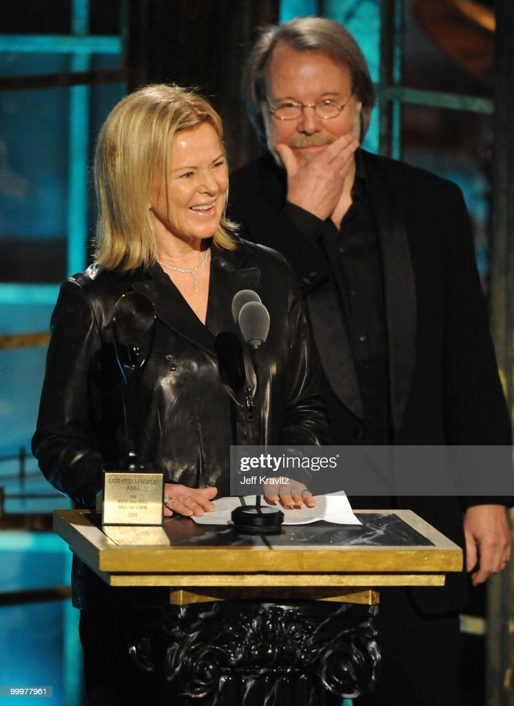 Musucians Anni-Frid Prinsessan Reuss and Benny Andersson of ABBA speak onstage at the 25th Annual Rock and Roll Hall of Fame Induction Ceremony at the Waldorf=Astoria on March 15, 2010 in New York City.
