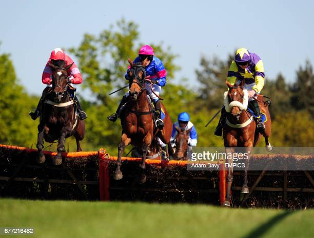 Mut'Ab ridden by Alan Creighton jumps the last to win the Gresham's Prep School Racing to School Selling Hurdle Race