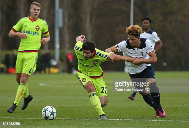 Mutalip Alibekov of CSKA Moscow tussles with Keanan Bennetts of Tottenham Hotspur during the UEFA Youth Champions League match between Tottenham...