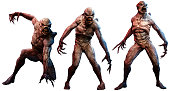 A group of mutant horrors 3D illustration
