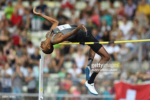 Mutaz Barshim of Quatar competes in the high jump men during the Diamond League Athletics meeting 'Athletissima' on August 25 2016 in Lausanne / AFP...