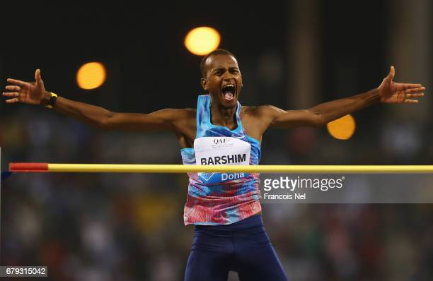Mutaz Essa Barshim of Qatar celebrates a succesful attempt in the Men's High Jump during the Doha IAAF Diamond League 2017 at the Qatar Sports Club...