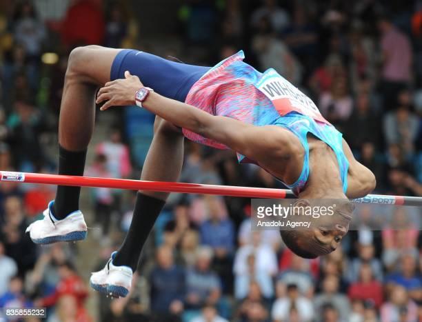 Mutaz Essa Barshim of Qatar competes during the High Jump Men during the 2017 IAAF Diamond League at Alexander Stadium in Birmingham United Kingdom...