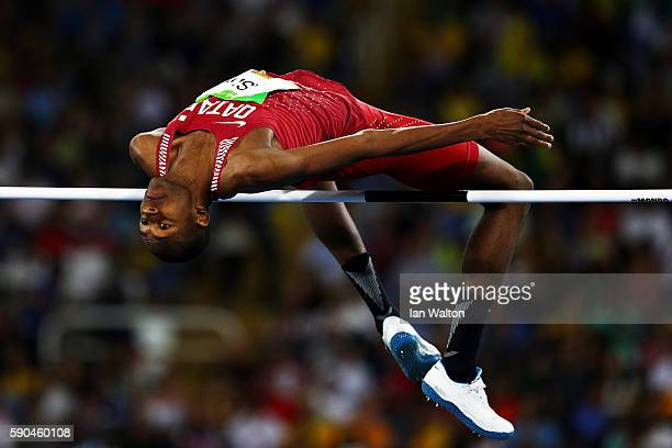 Mutaz Essa Barshim of Qatar competes during the Men's High Jump Final on Day 11 of the Rio 2016 Olympic Games at the Olympic Stadium on August 16...