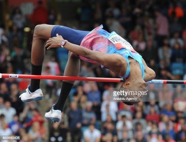 Mutaz Essa Barshim of Qatar competes in the Men's High Jump during the 2017 IAAF Diamond League at Alexander Stadium in Birmingham United Kingdom on...