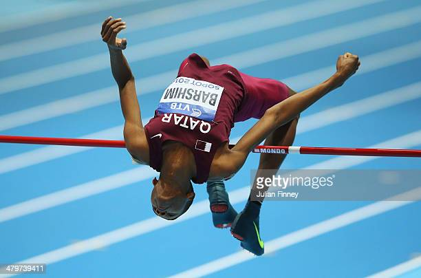 Mutaz Essa Barshim of Qatar competes in the Men's High Jump Final during day three of the IAAF World Indoor Championships at Ergo Arena on March 9...