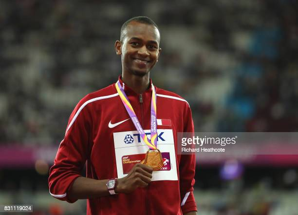 Mutaz Essa Barshim of Qatar gold poses with his medal for the Men's High Jump final during day ten of the 16th IAAF World Athletics Championships...