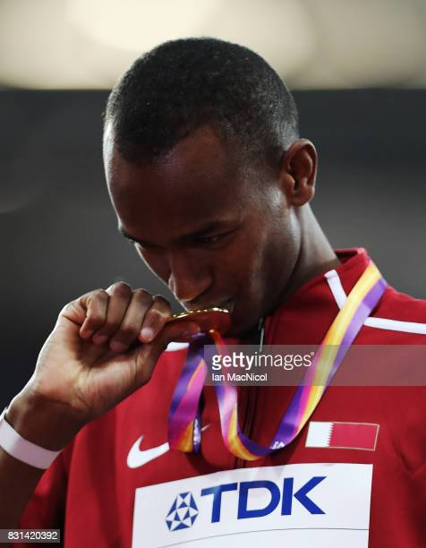 Mutaz Essa Barshim of Qatar poses with his Gold medal from the High Jump final during day ten of the 16th IAAF World Athletics Championships London...