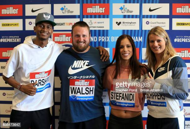 Mutaz Essa Barshim of Qatar Tomas Walsh of New Zealand Katerina Stefanidi of Greece and Dafne Schippers of Netherlands pose for a photograph during a...