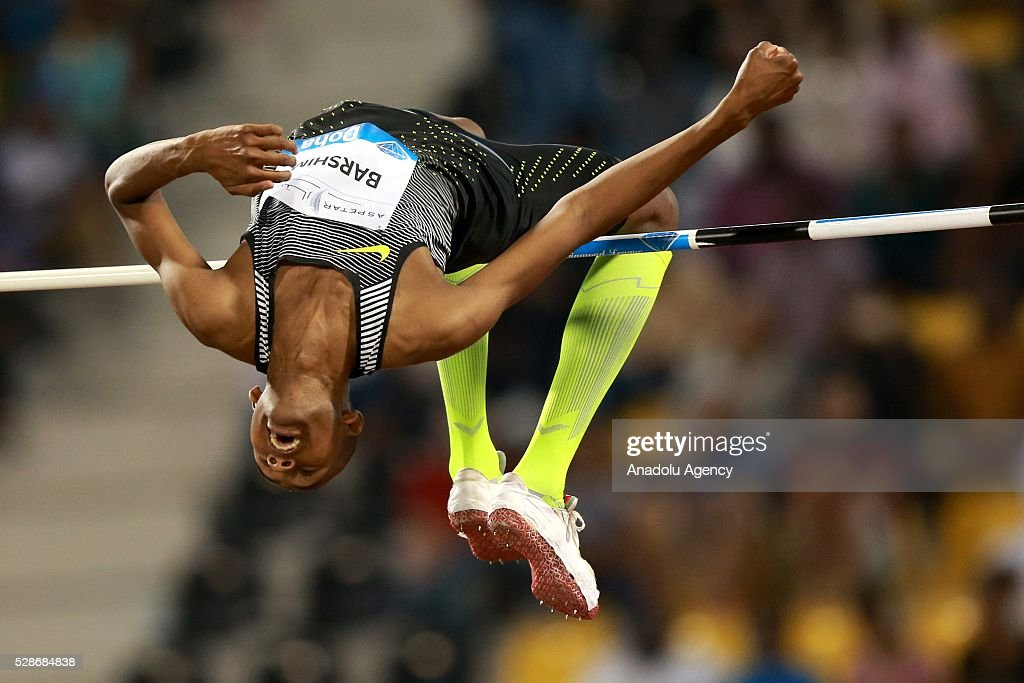 Mutaz Essa Barshim of the Qatar competes in the High Jump final at the Diamond League athletics competition at the Qatar Sports Club Stadium in Doha on May 6, 2016.