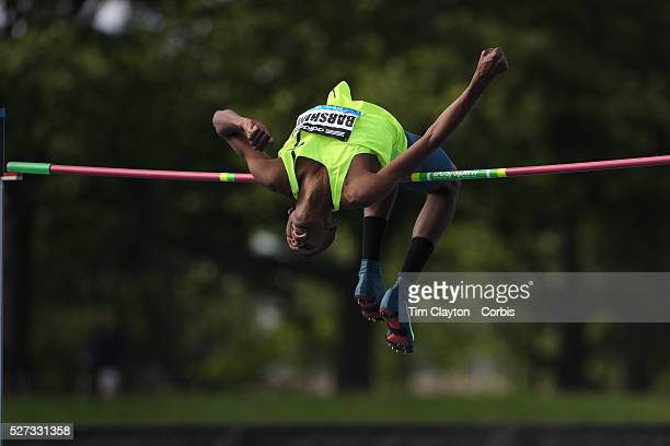Mutaz Essa Barshim Qatar in action during the Men's High Jump Competition at the Adidas Grand Prix at Icahn Stadium Randall's Island Manhattan New...