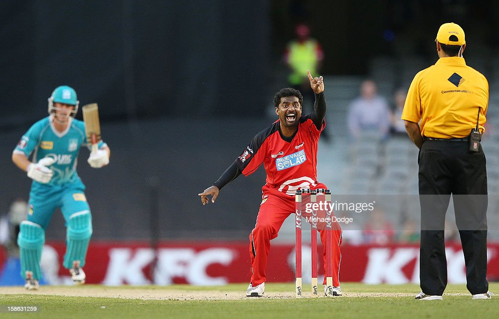 Muthiah Muralidaran of the Melbourne Renegades appeals successfully for LBW to dismiss Chris Lynn of the Brisbane Heat during the Big Bash League match between the Melbourne Renegades and the Brisbane Heat at Etihad Stadium on December 22, 2012 in Melbourne, Australia.