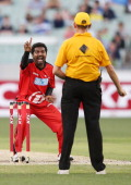 Muthiah Muralidaran of the Melbourne Renegades dismisses Cameron White of the Melbourne Stars during the Big Bash League match between the Melbourne...