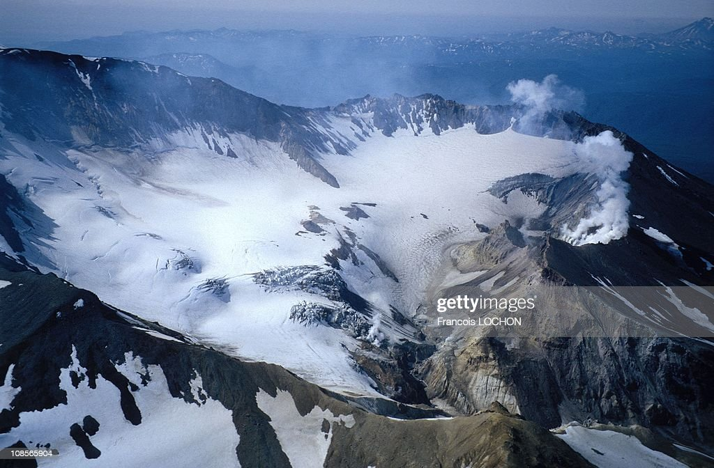 Mutnovsky is a composite stratovolcano with a large twin crater at its summit in Russia in 1993.
