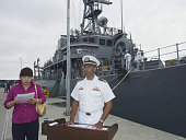 Mutsu Japan Lieutenant Commander Todd Levant skipper of the US Navy's mines countermeasure ship USS Defender attends a press conference at Japan's...