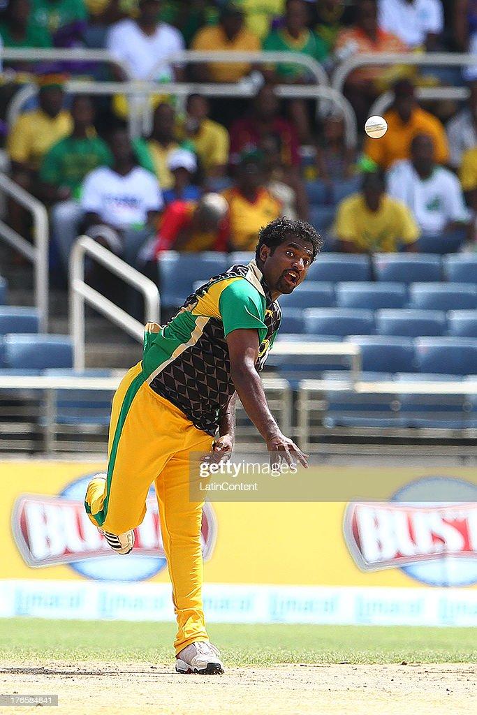 Muttah Muralitharan bowls during the Sixteenth Match of the Cricket Caribbean Premier League between Jamaica Tallawahs v Guyana Amazon Warriors at Sabina Park on August 15, 2013 in Kingston, Jamaica.