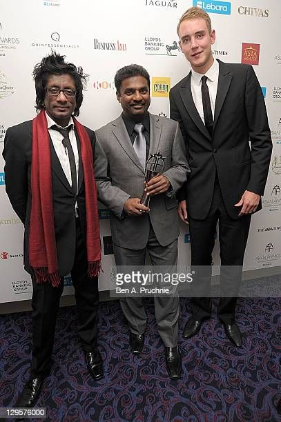 Muttiah Muralitharan and Stuart Broad attends The Asian Awards at Grosvenor House on October 18 2011 in London England