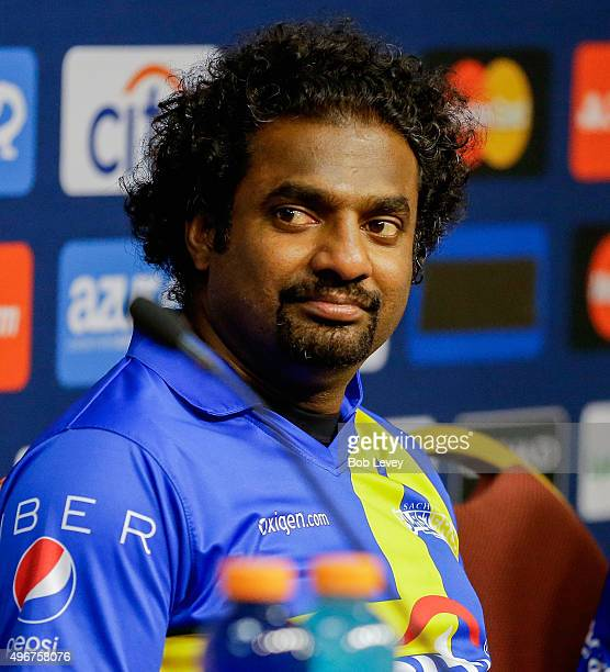 Muttiah Muralitharan answers questions from the media after the Cricket AllStars Series at Minute Maid Park on November 11 2015 in Houston Texas