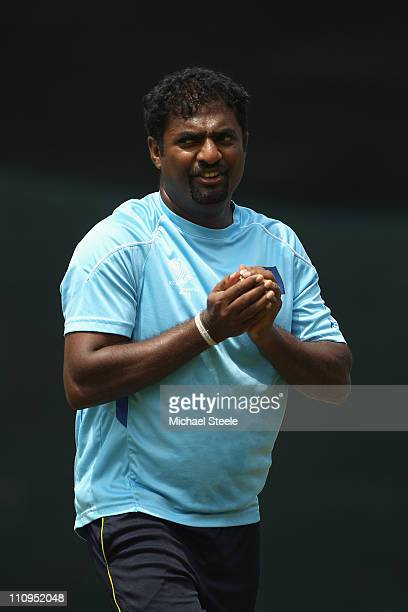 Muttiah Muralitharan during the Sri Lanka nets session at the R Premadasa Stadium on March 28 2011 in Colombo Sri Lanka