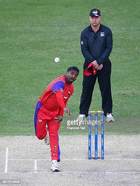 Muttiah Muralitharan of Gemini Arabians bowls during the Oxigen Masters Champions League match between Gemini Arabians and Leo Lions on January 30...