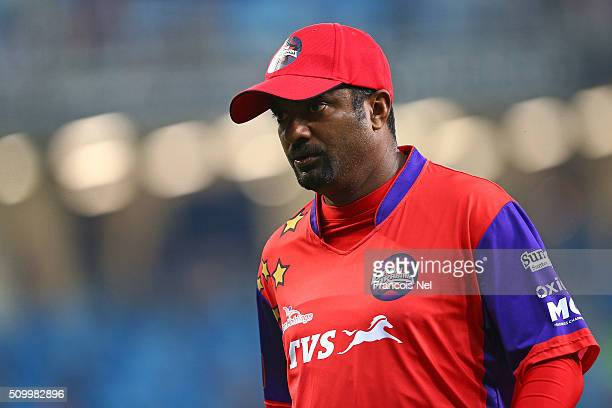 Muttiah Muralitharan of Gemini Arabians walks off during the Final match of the Oxigen Masters Champions League between Gemini Arabians and Leo Lions...