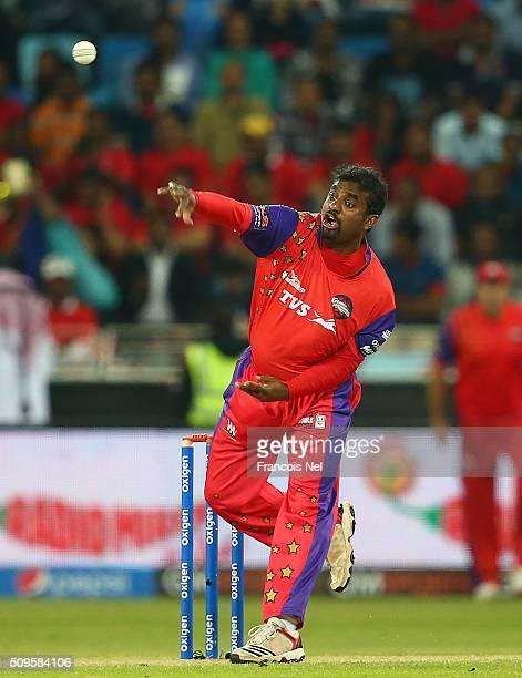 Muttiah Muralitharan of Gemini bowls during the Oxigen Masters Champions League Semi Final match between Gemini Arabians and Sagittarius Strikers at...