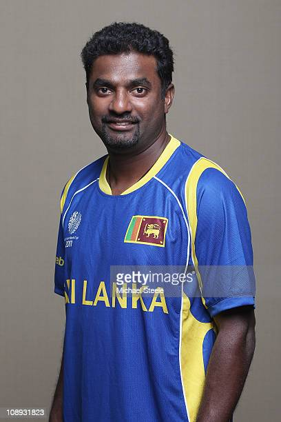 Muttiah Muralitharan of Sri Lanka ahead of the 2011 ICC World Cup at the Hilton Hotel on February 9 2011 in Colombo Sri Lanka