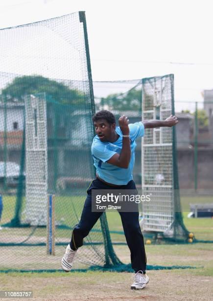 Muttiah Muralitharan of Sri Lanka bowls during a Sri Lanka nets session at the R Premedasa Stadium on March 25 2011 in Colombo Sri Lanka