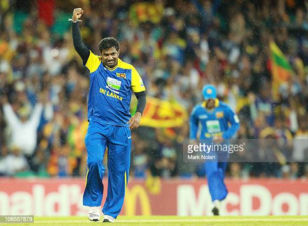 Muttiah Muralitharan of Sri Lanka celebrates a wicket during the Commonwealth Bank Series match between Australia and Sri Lanka at Sydney Cricket...