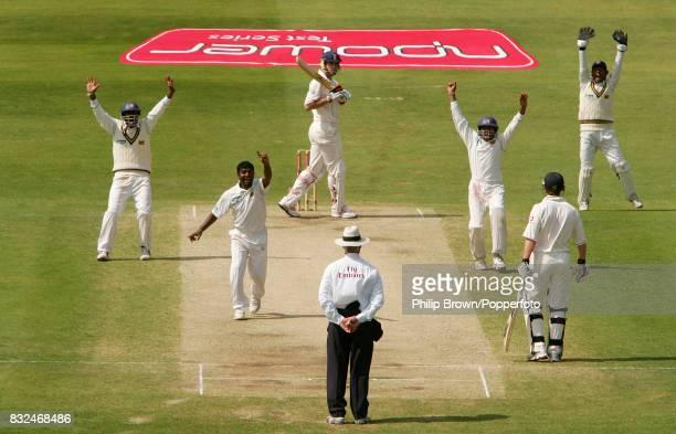 Muttiah Muralitharan of Sri Lanka gets the wicket of England batsman Kevin Pietersen caught by Tillakaratne Dilshan for 6 runs during the 3rd Test...