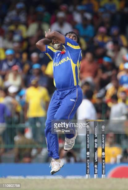 Muttiah Muralitharan of Sri Lanka in action during the 2011 ICC World Cup QuarterFinal match between Sri Lanka and England at the R Premadasa Stadium...