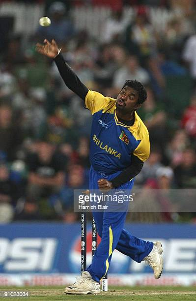 Muttiah Muralitharan of Sri Lanka in action during the ICC Champions Trophy Group B match between South Africa and Sri Lanka played at Super Sport...